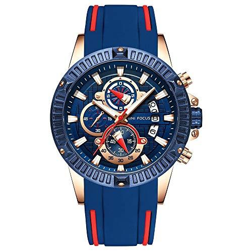 Amyove Smart Watch Men Chronograph Analog Quartz Waterproof Silicone Strap Sport Watch Wristwatch Ornament