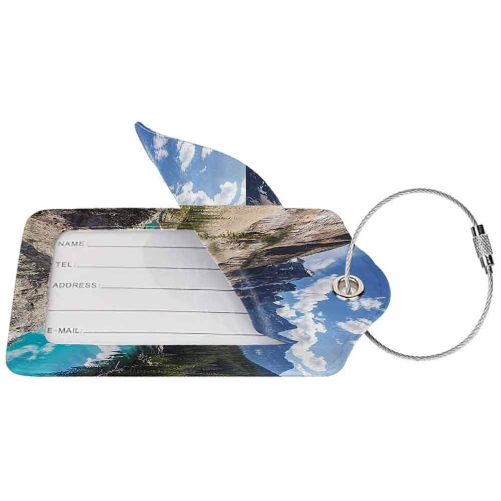 Durable luggage tag Scenery Decor Fresh Color Famous Lake in National Park Between Mountains and Forest Calm Unisex Blue and Grey W2.7 x L4.6