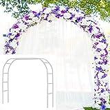 Metal Garden Arbor Wedding Arch 6'5'' H x 7'6'' W / 7'10''H x 4'6'' W Assemble Freely 2 Sizes for Various Climbing Plant Roses Vines Bridal Party Decoration Pergola Arbor (White)