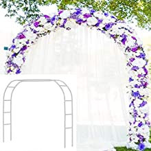 Metal Garden Arbor Wedding Arch 76.8 inch H x 90.5 inch W \ 94.5 inch H x 55 inch W Assemble Freely 2 Sizes for Various Climbing Plant Roses Vines Bridal Party Decoration Pergola Arbor (White)