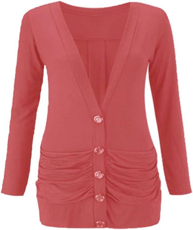 Women/'s Ladies Plain Ruched Pocket Button Boyfriend Cardigan Top Plus Size 8-26