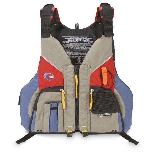 MTI Adventurewear Voyager PFD Life Jacket, Khaki/Red, X-Small/Small