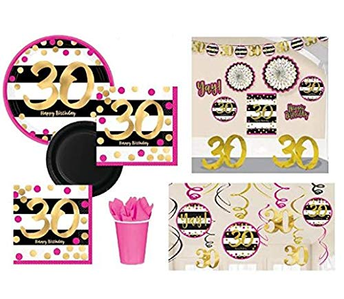 FAKKOS Design 30th Birthday Decorations and Party Supplies in Pink Gold Black foil for 24 Guests Includes Plates, Cups, Napkins, Deluxe Decorations -