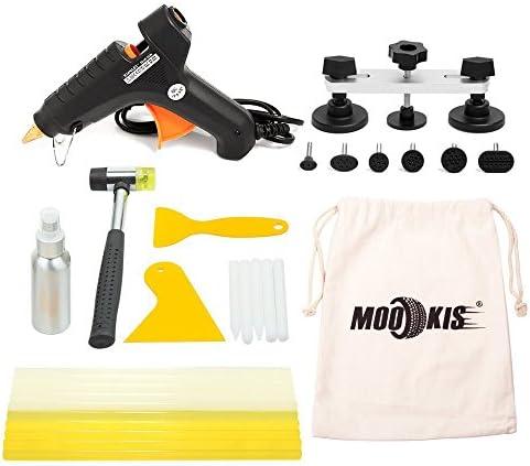 Mookis Kit de herramientas de reparación de abolladuras de carrocería con pistola de pegamento, barras de pegamento caliente, raspador de plástico y martillo de reparación para radio Delphi Bosch: Amazon.es: Coche y