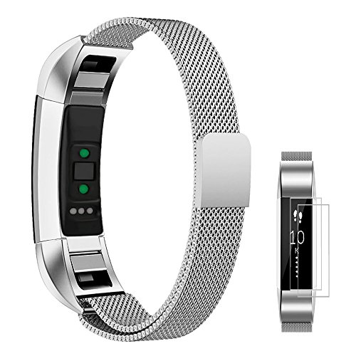 Fitbit Alta/Alta HR Bands Metal, UMTELE Stainless Steel Milanese Loop Replacement Strap (Small & Large Sizes)