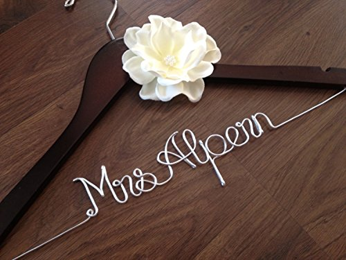Personalized Wedding Dress Hanger with Ivory Flower