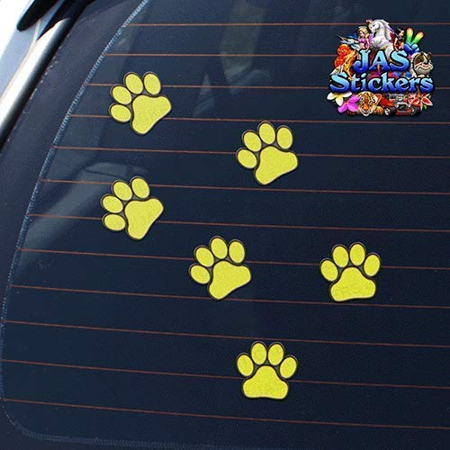 Pet Cat Dog Small Vinyl Stickers Pack Yellow JAS Stickers/® ANIMAL PAW PRINTS Car Decals ST00002YW/_1