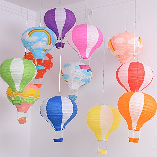 Joinwin-12-Inch-Hanging-Wedding-Rainbow-Hot-Air-Balloon-Paper-Lantern-Party-Decorations-Pack-of-5-Pieces-Mix-Design-and-Color