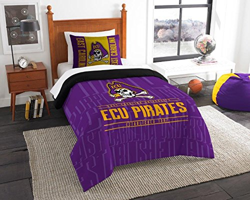 East Carolina Pirates - 2 Piece Twin Size Printed Comforter Set - Entire Set Includes: 1 Twin Comforter (64