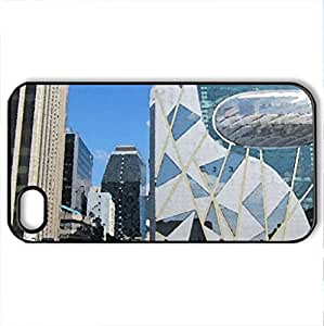 Cityscape - Case Cover for iPhone 4 and 4s (Houses Series, Watercolor style, Black)