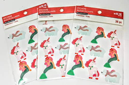 12 Mermaids, 12 polarbears, 12 Unicorns Stickers per Package MSRP $2.50 per pkg 3 pkgs per Order = 102 Total Stickers and $7.47 Total Value