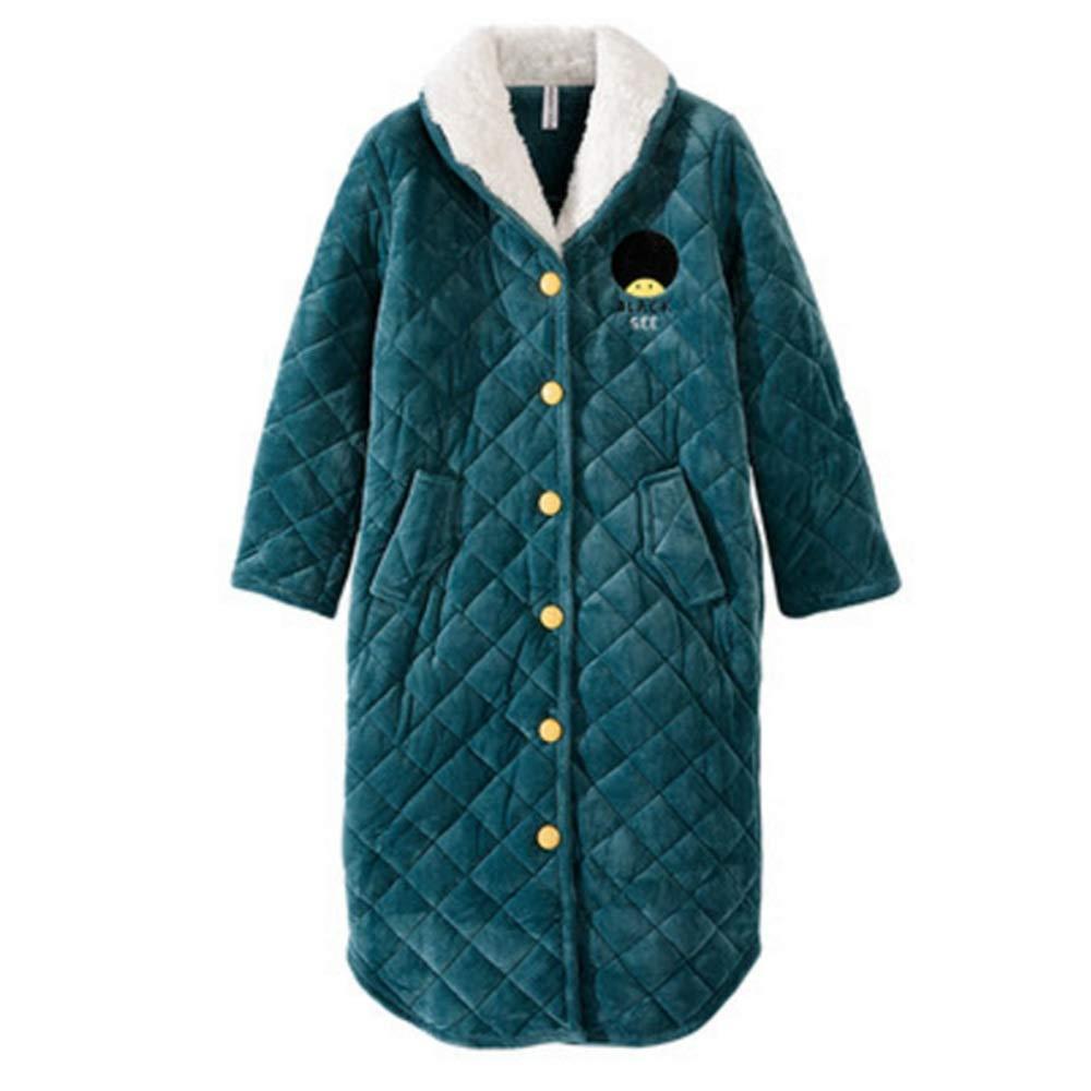Albornoz Nan Liang 100% algodón camisón Femenino de Dibujos Animados de Manga Larga Grueso camisón Abrigo Servicio a Domicilio Cómodo (Tamaño : S)
