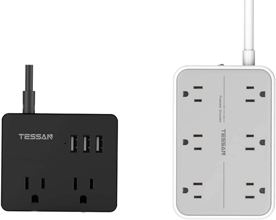 urge Protector with USB, TESSAN Power Strip Flat Plug with 6 Widely Spaced AC Outlets and 3 USB Charging Ports, 1080 Joules, Wall Mount Extension Cord 5 Ft, Home and Office Accessories