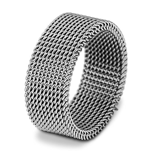 JAJAFOOK 8mm Flexible Stainless Steel Screen Mens Womens Ring, Woven Mesh Band, Silver Heavy Mesh Ring