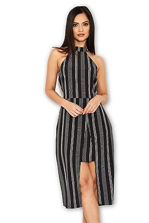 1b566028e1c1 AX Paris Women s Black Pin Striped Wrap Skirt Cut in Neck Dress(Black  Stripe