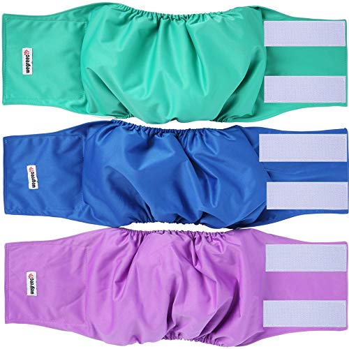 Wegreeco Washable Male Dog Belly Wrap - Pack of 3 - (Blue,Green,Purple,Large)