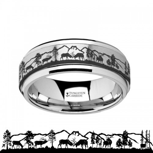 Spinning Engraved Elk Deer Stag Mountain Range Tungsten Carbide Spinner Wedding Band - - Ring Elk