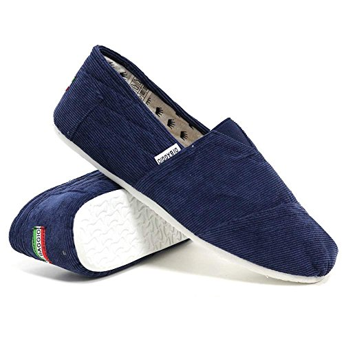 Di Baggio Men's Slip On Canvas Pumps Espadrille Beach Shoes Corduroy Navy WRsxd