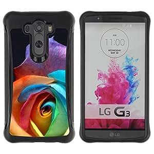 Paccase / Suave TPU GEL Caso Carcasa de Protección Funda para - Color Rose Beautiful Flower - LG G3