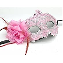 Venetian Mask Pink Leather Lace Side Flower Mask Beauty Mask Rose Princess with Flower Mask