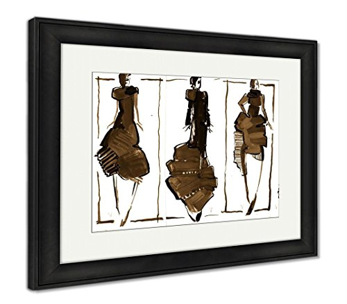 Ashley Framed Prints Colored Silhouettes of Fashionable Womens Dresses, Wall Art Home Decoration, Sepia, 30x35 (Frame Size), Black Frame, AG6250969 - Dress Framed Print