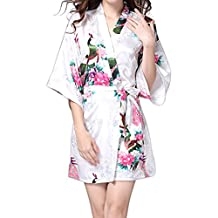 Aosbos women Kimono Peacock Blossoms Satin Robes V-neck Robe and Silk Sleepwear