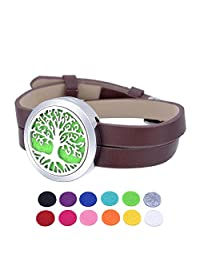 HOUSWEETY Aromatherapy Essential Oil Diffuser Leather Wrap Bracelet Locket Pendant with 12 Refill Pads