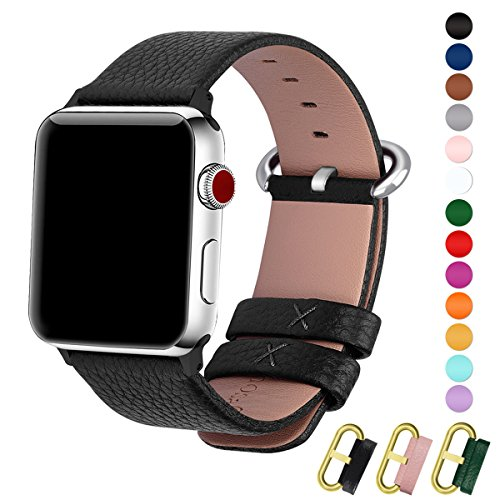 Fullmosa Apple Watch Band 42mm 38mm Calf Leather iWatch Band Replacement Strap Bracelet for Apple Watch Series 3 Series 2 Series 1,42mm Black