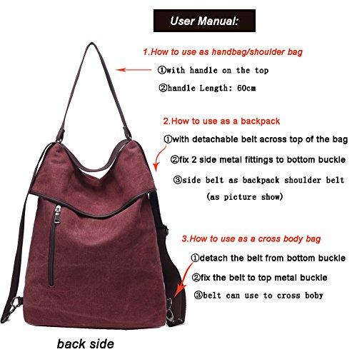 Travistar Women Multifunction Shoulder Bag Canvas Crossbody Casual Daypack Handbag for work and daily use by Travistar (Image #3)