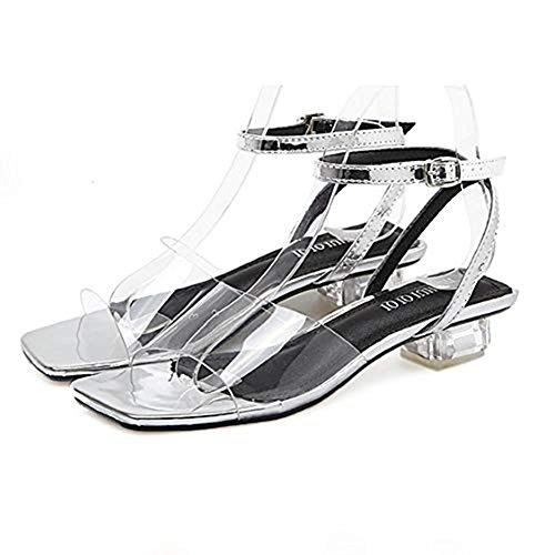 Heel T Middle Open JULY Chunky Transparent Crystal Buckle Silvery Strap Women's Slip Dress Slippers on Toe Sandals Ankle Slide WqIYSqwr