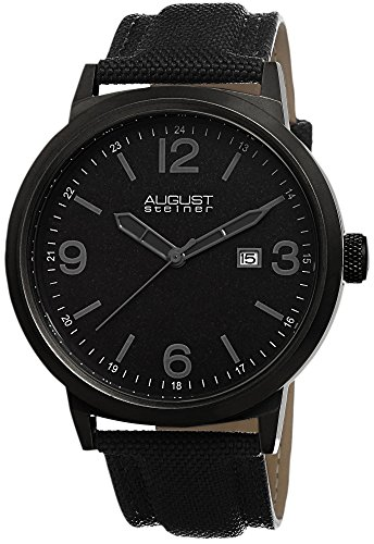 August Steiner Men's AS8088BK Black Stainless Steel Canvas Strap Watch