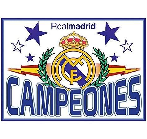 Real Madrid Bandera Campeones. 150 x 100 cm. Producto Oficial.: Amazon.es: Deportes y aire libre