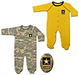 2pk Baby Infant Acu Army Crawlers Sleepers Gold
