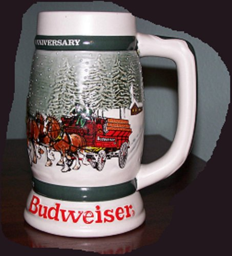 ANHEUSER BUSCH BUDWEISER HOLIDAY STEIN 1982 CS-57 CLYDESDALES 50th ANNIVERSARY