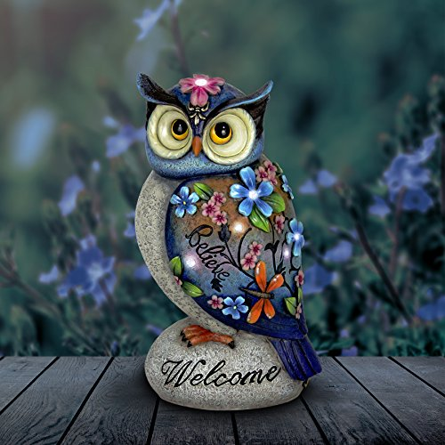 Exhart Welcome Owl Garden Decor - Inspirational Owl Statue with Solar Garden Lights - Solar Owl w/ Flowers & Inscribed Welcome - Believe: Garden, Home & Office Decor, Owl Decorations 8.2