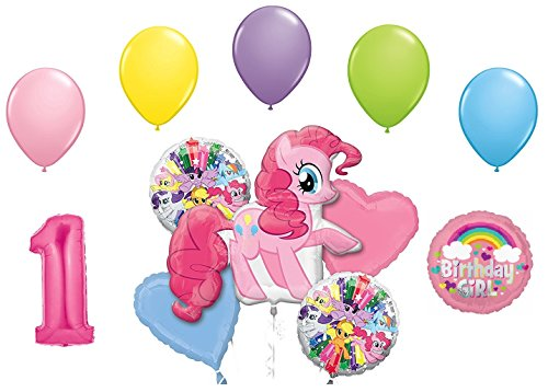 My Little Pony Pinkie Pie and Rainbow Dash 1st Birthday Party Supplies 12 Piece Mylar & Latex Balloons Set Latex and Mylar Balloon Set