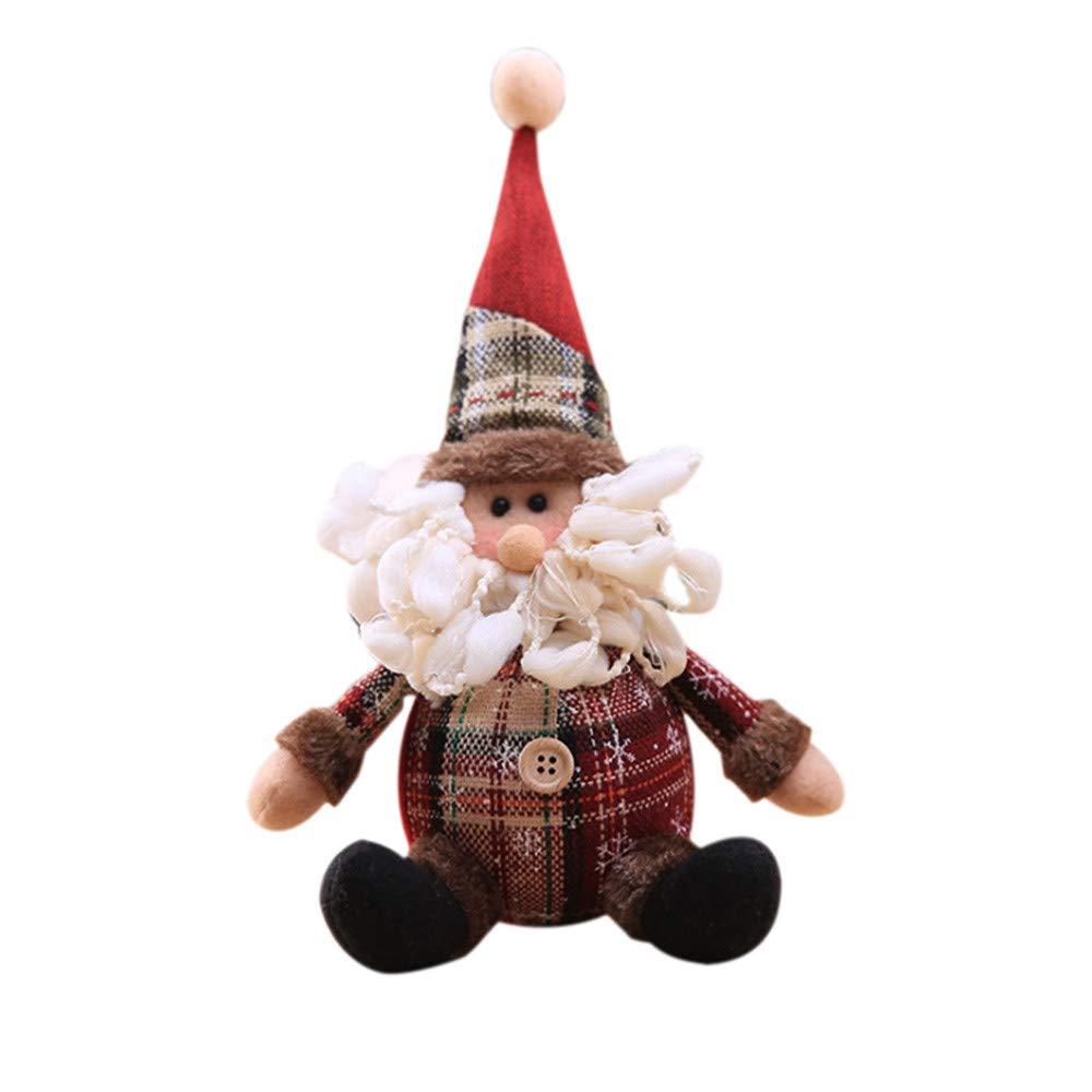 Hisoul Hot  Christmas Doll Plush Toy Santa Claus Snowman Ornament Table Decor Doll for Christmas, Festivals, Parties Decoration Toys (B)
