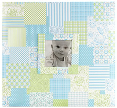 MCS MBI 12.5x13.5 Inch Baby Scrapbook Album with 12x12 Inch Pages with Photo Opening, Blue Quilt Design ()