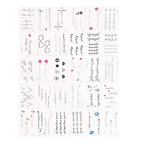 30pcs Temporary Tattoos Bar Lettering Tattoos Metallic Tattoos Stickers Fake Tattoos for Men Women ()