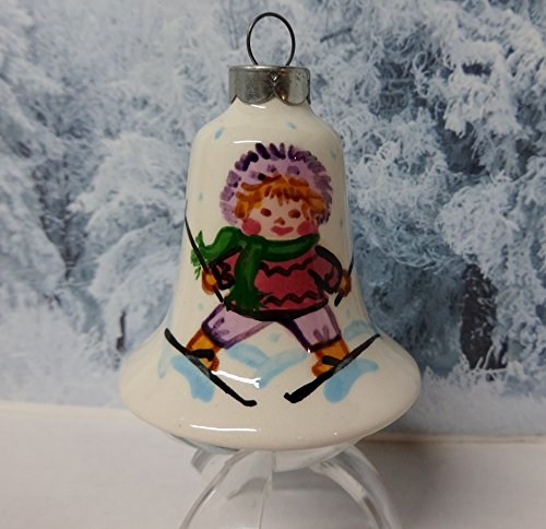 Vintage 1991 Porcelain Hand Painted Collectible Christmas Tree Ornament Girl on Skis - Signed By Artist Suzi Long