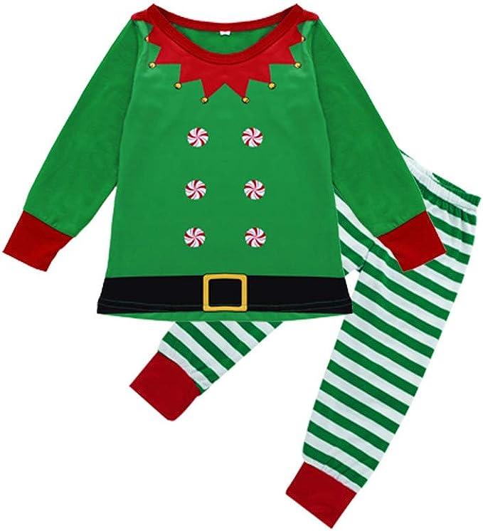 Surfiiy Pijama Familia Navidad Set Niños Unisex Dos Piezas Elfo de ...
