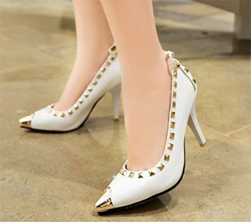 a Sexy Heels Regina Colori white Rivet Punta Donna Clover Dancing Scarpe Sandali Tacchi Girls eu41 3 Mid Alti Lucky Party Bridal Wedding gT50wRqR