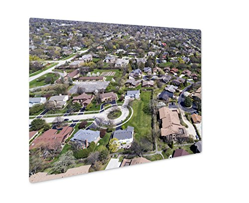 Ashley Giclee Metal Panel Print, Aerial View Of Suburban Neighborhood With Culdesac, Wall Art Decor, Floating Frame, Ready to Hang 16x20, - Northbrook Court Illinois