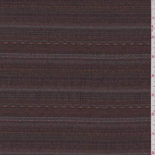 Rust Brown Dobby Stripe Seersucker, Fabric by The Yard