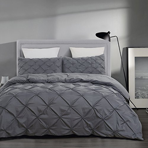 Tufted Set Comforter (Vaulia Lightweight Microfiber Duvet Cover Sets, Grey-Tufted Pattern - Queen Size)