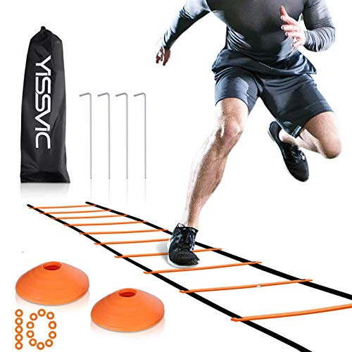 YISSVIC Agility Ladder and Cones 20 Feet 12 Adjustable Rungs Fitness Speed Training Equipment, 20 Feet Speed Agility 1…