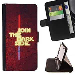 For Samsung Galaxy S5 V SM-G900 Join The Dark Side Style PU Leather Case Wallet Flip Stand Flap Closure Cover