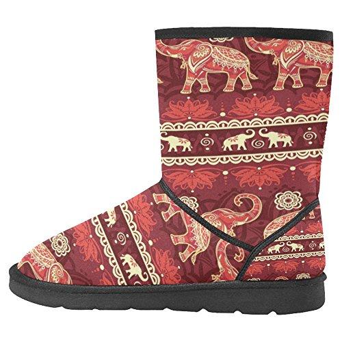 Snow Stivali Da Donna Di Interestprint Design Unico Comfort Invernale Stivali Elefanti Rosso Multi 1