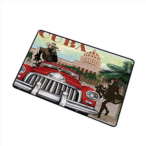 Washable Doormat Cuba Country Tourism Advertisement Theme Vintage Design Cigar Smoking Man and Dancing Girl W35 xL59 Easy to Clean Carpet ()