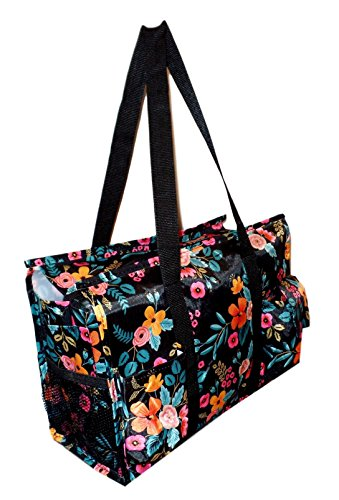 Floral Beach Bag (Fashion Print Zip Top Organizing Beach Bag Tote Diaper Bag Weekender - Can Be Personalized (Black Floral))
